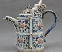 7 Antiques China Chinese Wucai Old Porcelain Flower Teapot Wine Tea Pot Flagon