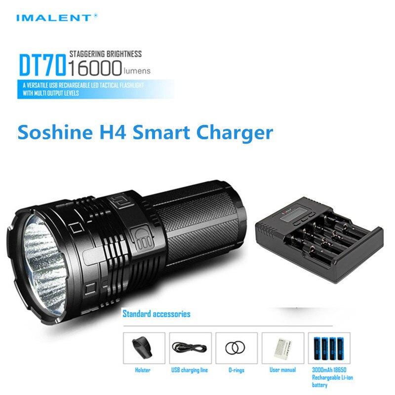 Поиск свет imalent DT70 4 * <font><b>XHP70</b></font> светодиодов Макс. 16000LM факел бросить 700 м фонарик с 4 шт. батареи + Soshine H4 Smart Зарядное устройство