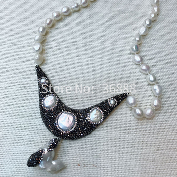 European and American retro fashion pearl pendant necklace exaggerated female short chain necklace jewelry collar sweater chain
