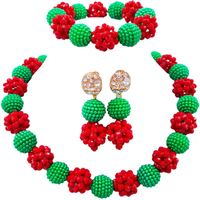 Nigerian Ethnic Green Red Custome Lady Jewelry Sets for Anniversary Gift 1C SJZZ 17