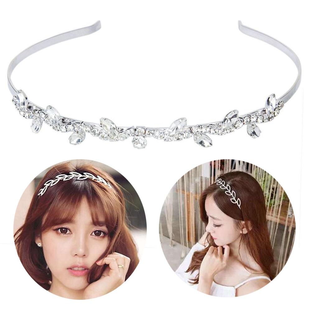 1PC Wedding Bridal Flower Lady Girls Pearl Wave Crystal Leaves Hairband Headband Crown   Headwear   Hoop Hair Band Accessories