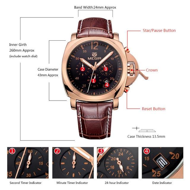 ORIGINAL Megir PAN STYLE Quartz watch 4