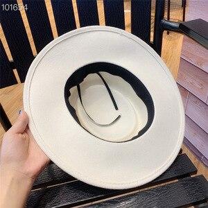 Image 4 - 01907 yuchun sólido estilo britânico inverno branco lã fedoras boné masculino feminino panamá jazz hat