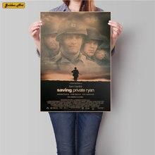 WW2 película ahorro privado Ryan papel Kraft clásico cartel Retro pegatina de pared pintura para sala de estar o Bar Café decoración 45,5x31,5 cm