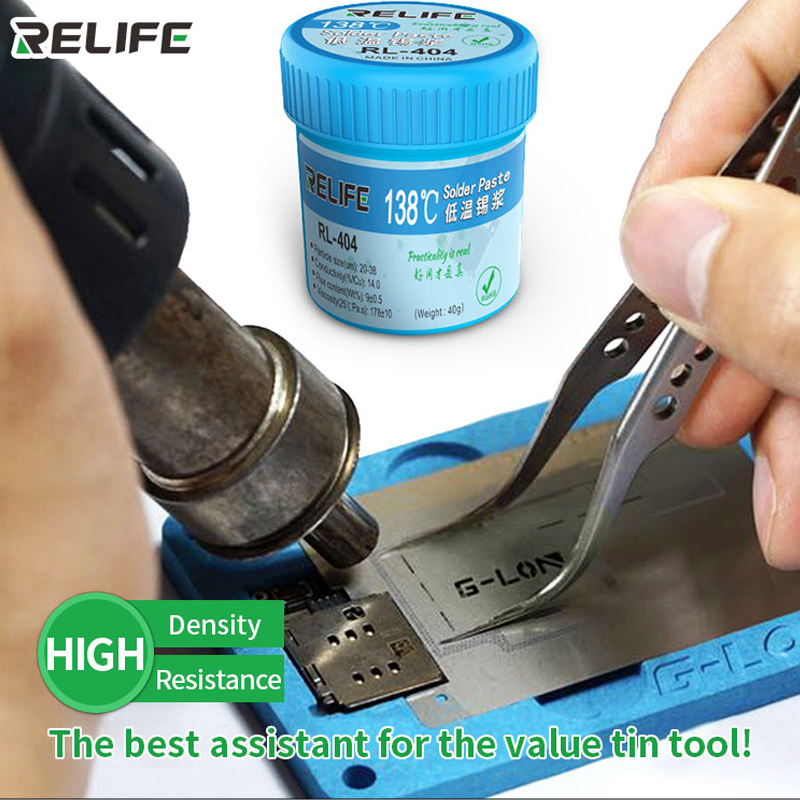 RELIFE RL- 404 138°C  Lead-free Solder Paste  Customized For Iphone Motherboard Repair