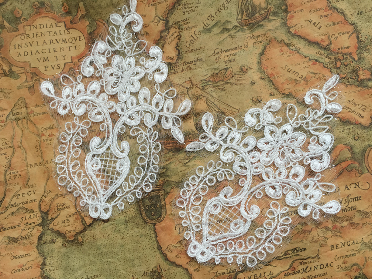 10Pieces Lace Appliques Sewing Supplies Chantilly Embroidered DIY Bridal Accessories High Quality Patch TT497 AIWUJIA