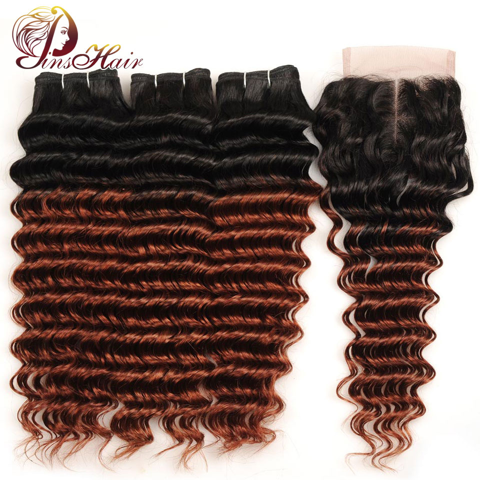 Pinshair Ombre Hair Peruvian Deep Wave 3 Bundles With Lace Closure Ombre 1B 33 Deep Wave Human Hair Bundle With Closure Non Remy