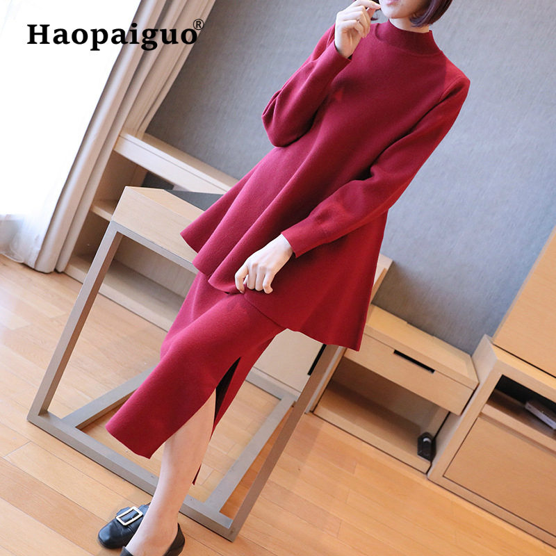 Spring 2 Piece Set Women Korean Casual Knitted Sweater and Loose Red Bodycon Wrap OL Office Dress Women Streetwear Two Piece Set