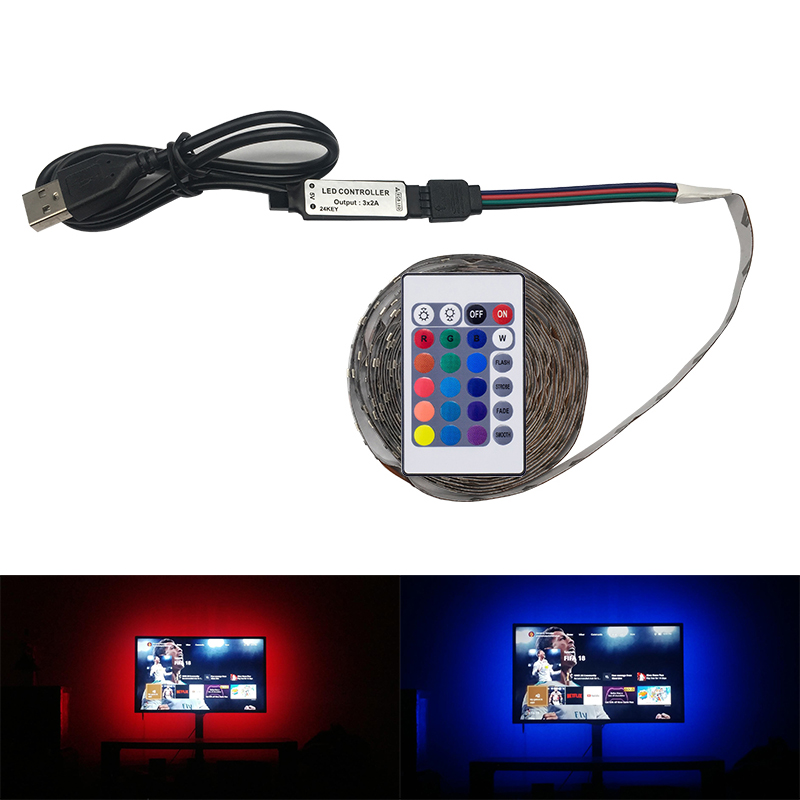 TV LED Strip light USB Powered DC 5V/6V 2835 RGB/White/Warm White Tape RGB LED Lamp 1M 2M 3M 4M 5M TV Background Lighting kinlams 5v 50cm 1m 2m 3m 4m 5m usb cable power led strip light smd2835 3528 christmas desk lamp tape for tv background lighting