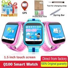 Получить скидку Оригинальный GPS Смарт-часы Q750 q100 Baby Smart часы с 1.54 дюйма Сенсорный экран SOS вызова расположение устройства трекер для малыша безопасный