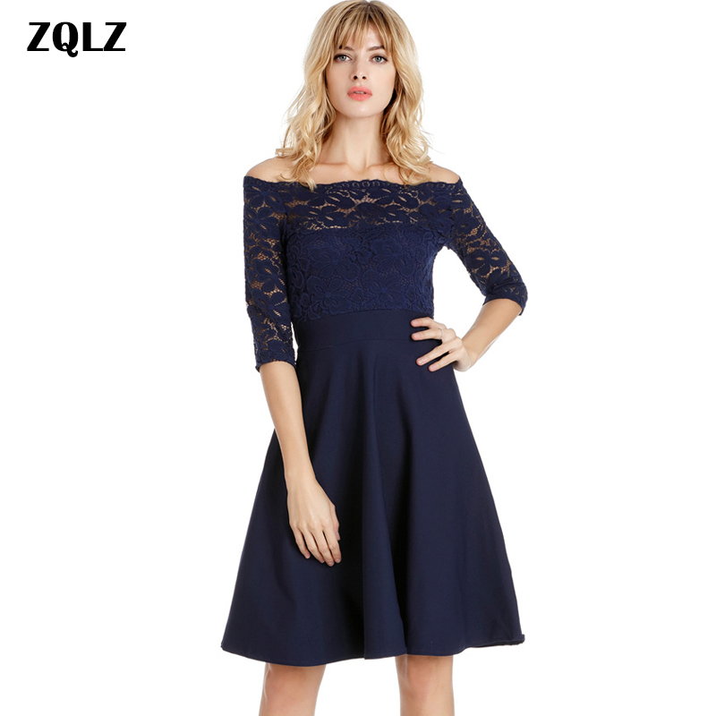 Zqlz New Summer Women Crochet Lace Dress Slash Neck Half