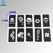 OPHIR 10x Airbrush Stencils Skull Series For Body Art Paint Temporary Tattoo Stencils, Tattoo Accesories Kit 7.1 X 3.6cm_TA032B