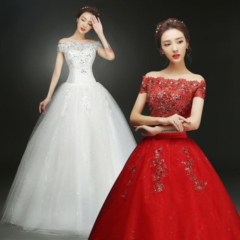 WhiteRed Wedding Dress Bride Large Size Shoulder Lace Up Wedding Dresses New Ball Gowns Princess Dresses
