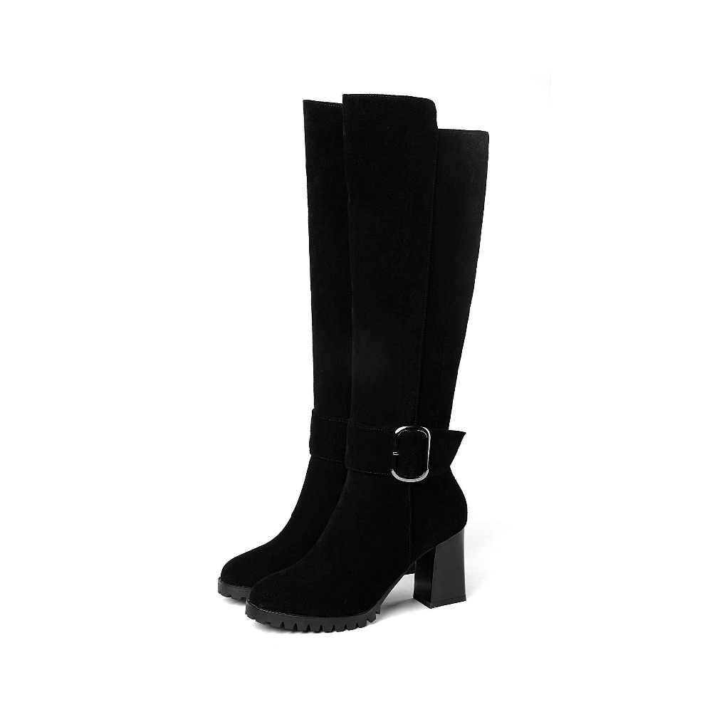 Lenkisen/Европейский стиль, круглый носок, высокий толстый каблук, молния, пряжка, ремень, Коровья замша, зимние короткие плюшевые теплые сапоги до колена L3f9