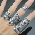 Chic Pack of 4 Vintage Tribal Indian Mayan Calendar Aztec Warrior Band Men Ring Biker Jewelry 2017 New