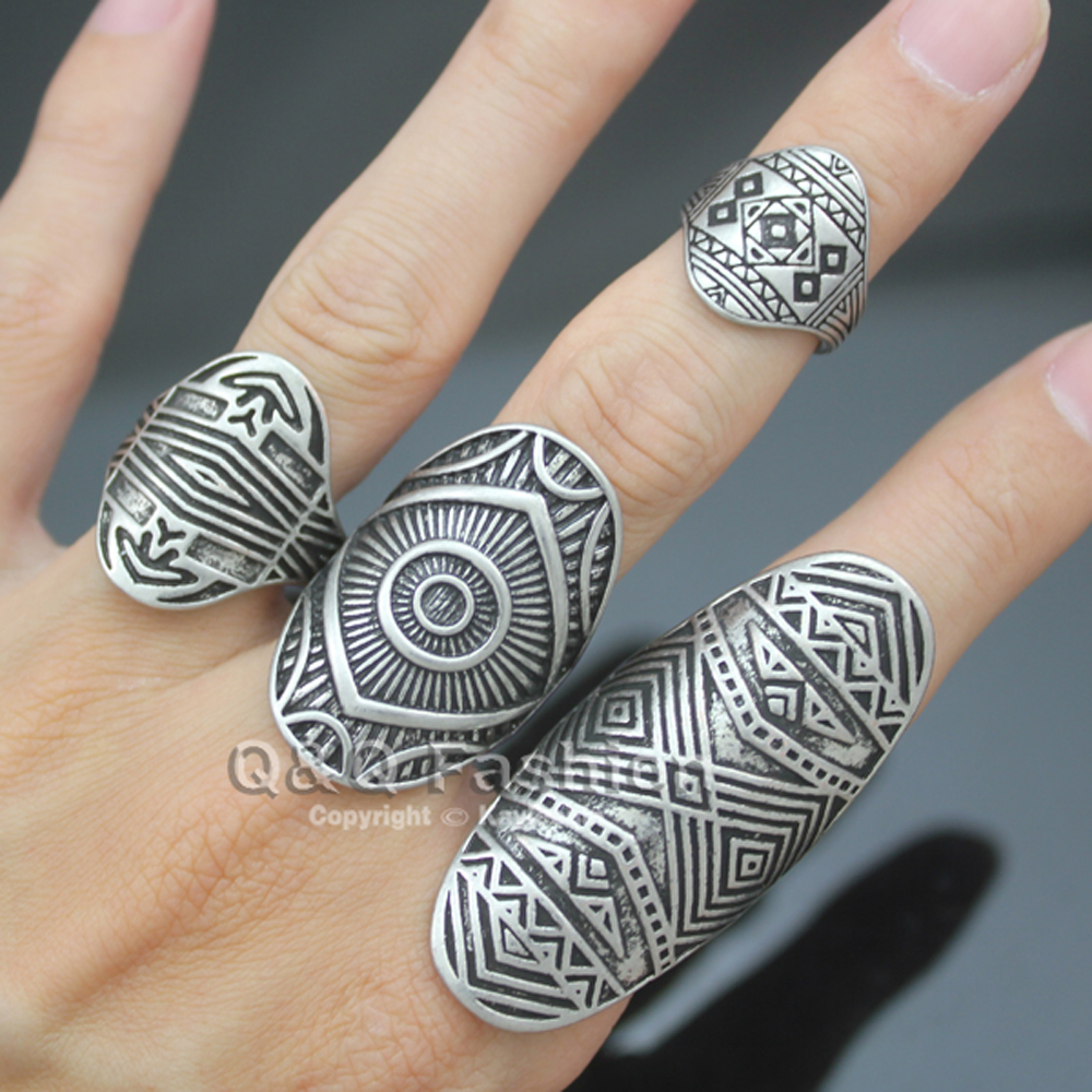 Chic Vintage Tribal Indian Mayan Calendar Aztec Warrior Band Men Promise Finger Rings Sets for Women Biker Jewelry Anel Anillos