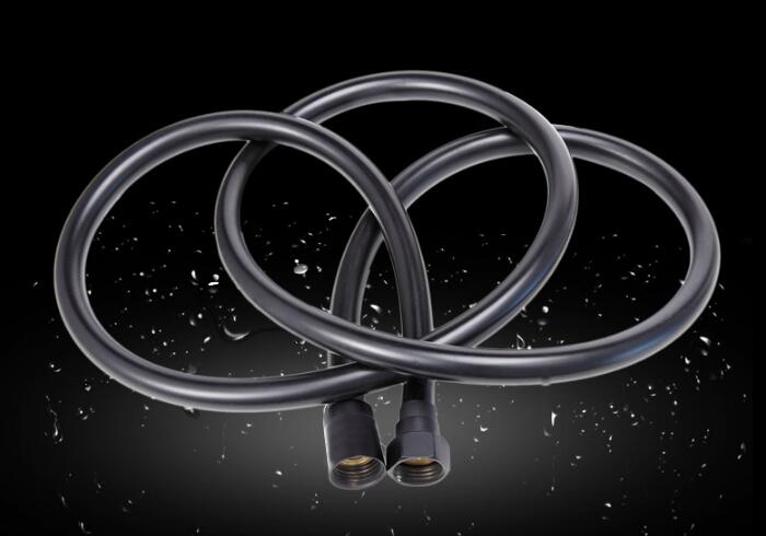 Free shipping 1.5m PVC Flexible Hose black color shower pipe Bath room shower set accessories Explosion-proof PH02