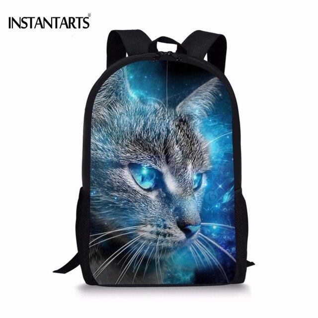 b1c487afe9ae INSTANTARTS Kawaii 3D Galaxy Universe Cat Printed Boys Girls Schoolbags  Blue Children Bookbags Primary School Students Backpacks