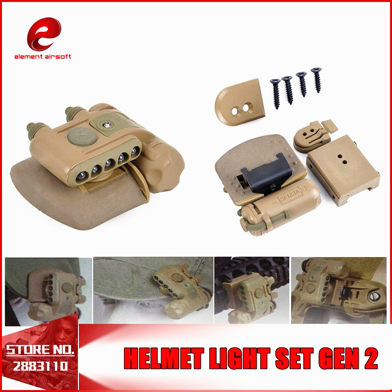 Element HELMET LIGHT SET GEN 2 Softair Military White Red Ir Led Tactical Weapon Flashlights Airsoft Fit Bicycle Motorcycle TAN