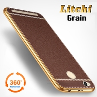 Litchi Lines Painting Case For Xiaomi Redmi 3S 3X 5 0 Slim Plating TPU Soft Business