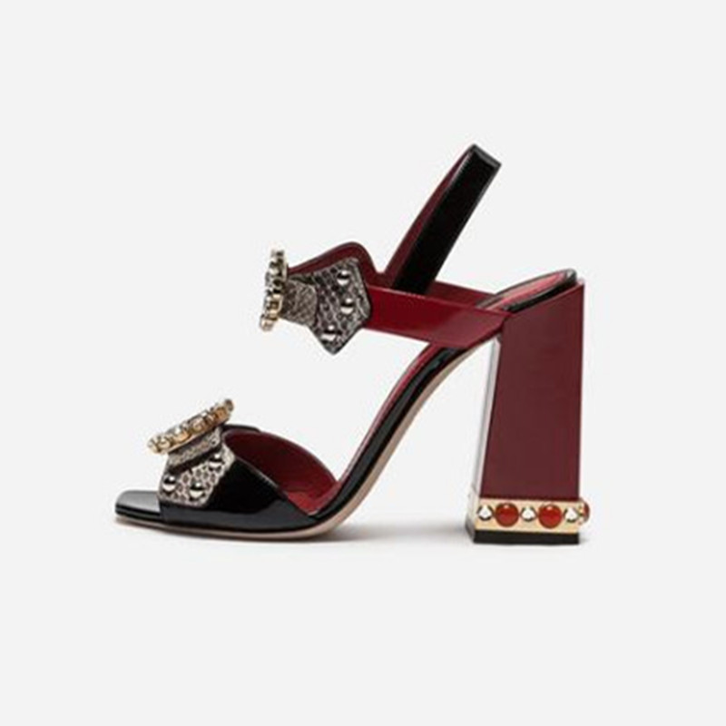 fashion designer shoes women square heel crystal embellished sandals sexy peep toe buckle strap party dress shoes pumps sexy spaghetti strap lacework embellished voile spliced dress for women
