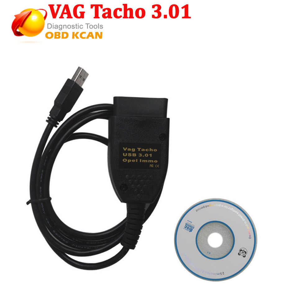 Vag3.01 USB Vag Tacho 3.01 + para O pel OBD2 Ferramenta de Diagnóstico VAG Immo Airbag EEPROM IMMO PIN Correção de Quilometragem com frete grátis
