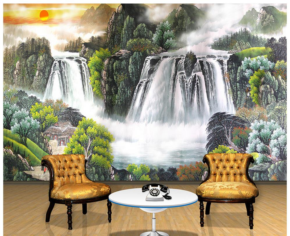 online get cheap sun wallpaper aliexpress com alibaba group home decoration 3d bathroom wallpaper sun landscape waterfall tv backdrop photo wall murals wallpaper china