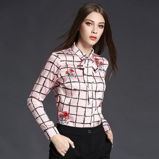 New Women Lapel Floral Shirt Women Top Camisas Femininas 2017 Long Sleeve All-match Print Women Shirts Blusa Feminina 706045