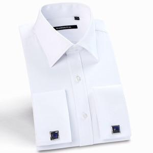 Image 1 - クラシックメンズスプレッドの襟フレンチカフドレスシャツポケットレス設計標準フィット長袖ツイル宴会結婚式シャツ