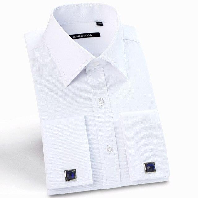 クラシックメンズスプレッドの襟フレンチカフドレスシャツポケットレス設計標準フィット長袖ツイル宴会結婚式シャツ