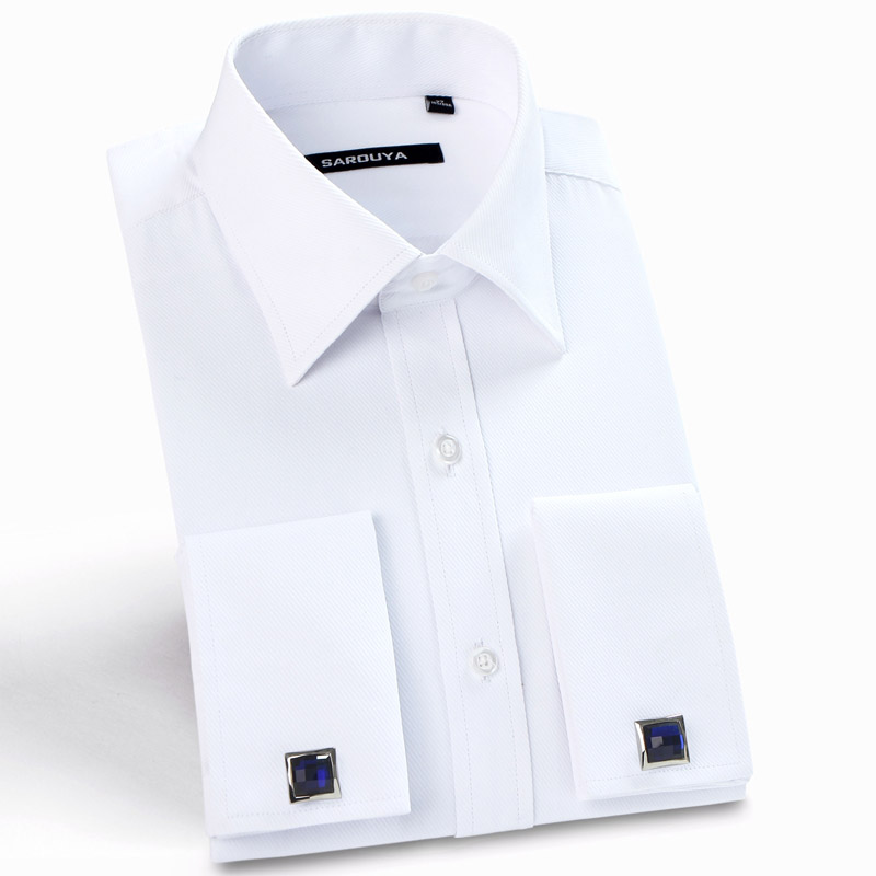Men's Classic Spread Collar French Cuff Dress Shirts Regular-fit Formal Business Long Sleeve Twill Shirt (Cufflinks Included)