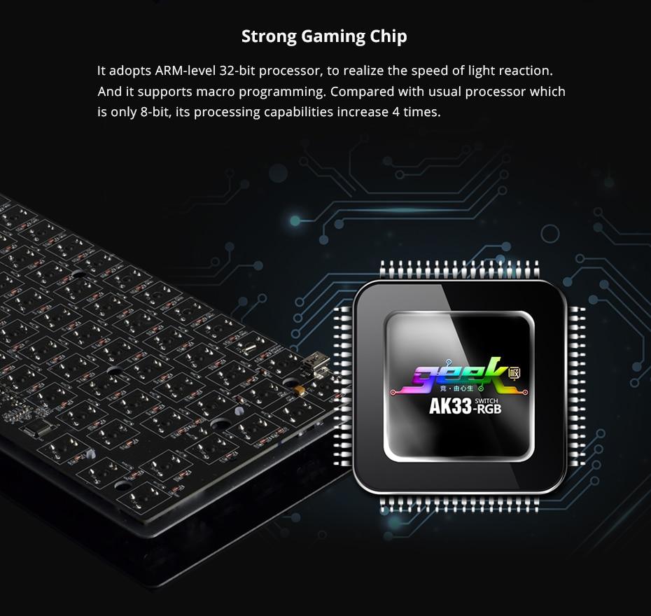 Ajazz AK33 gaming keyboard 82 keys RussianEnglish RGB backlight ergonomic wiredwireless mechanical keyboard conflict-free  (15)