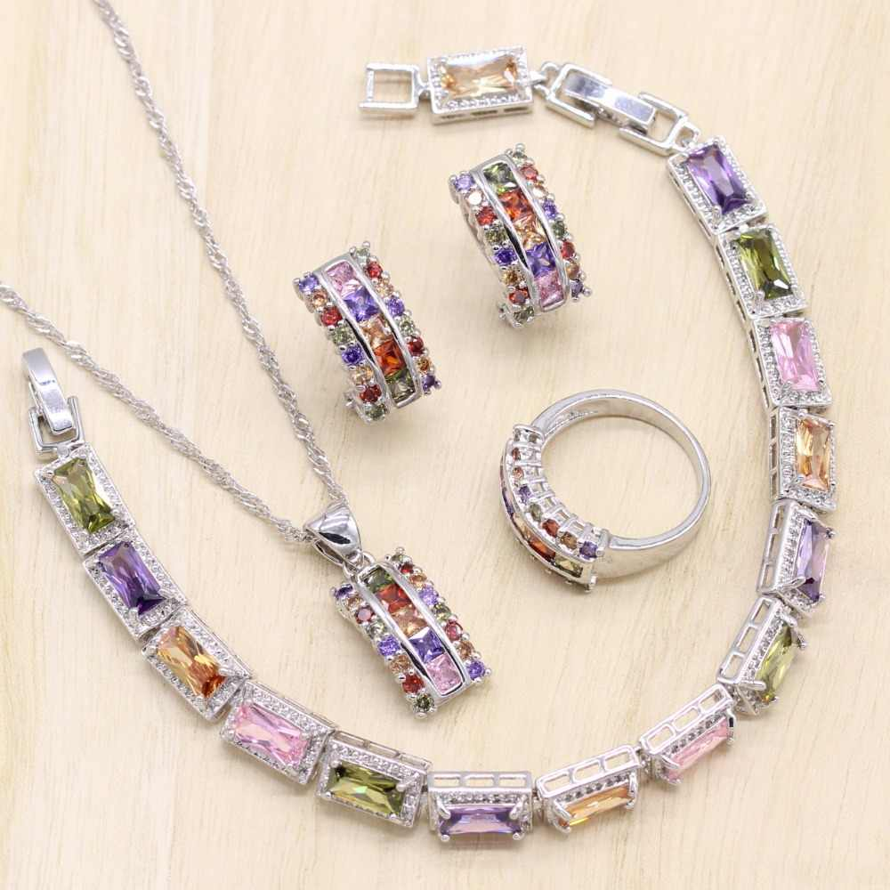 925 Sterling Silver Women Jewelry Sets Multicolor Cubic Zircon Bracelet Geometric Earrings/Pendant/Necklace/Ring Free Gift