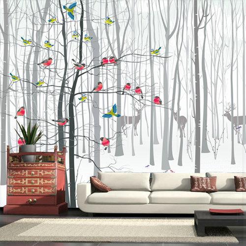 3D Photo Wall Wallpaper Murals for Living Room Modern Bird Tree ...