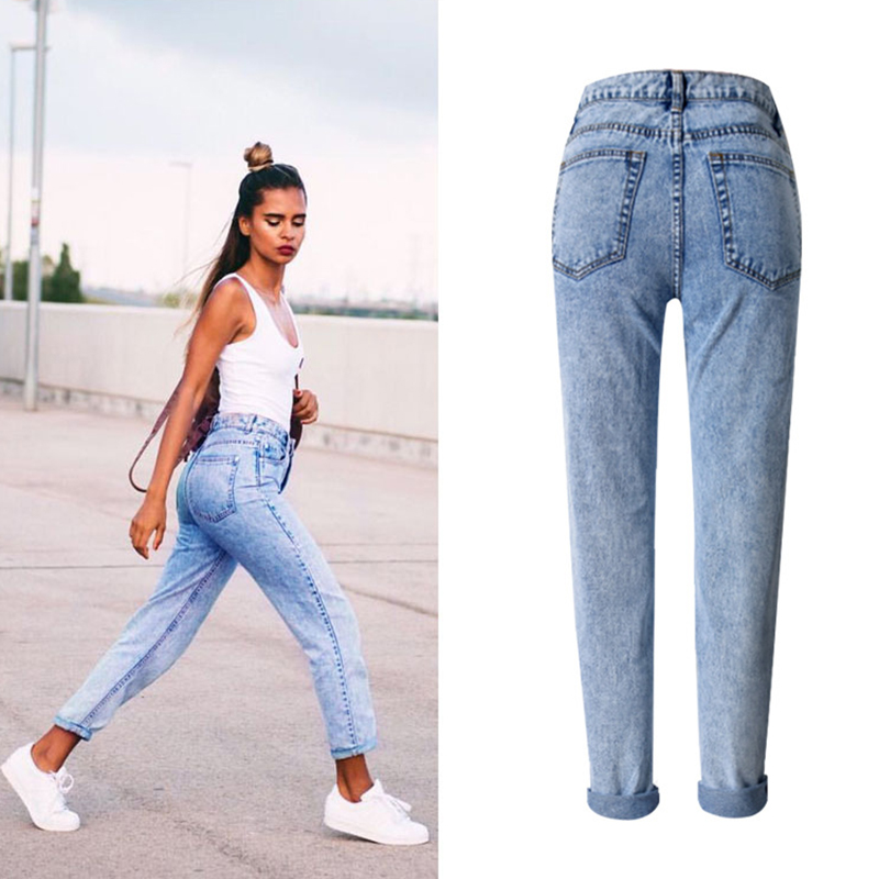 2017, the latest, fashion trends, Europe and the United States women's BF street snow high waist loose straight denim trousers have a large size of nine pants new clothes, (4)