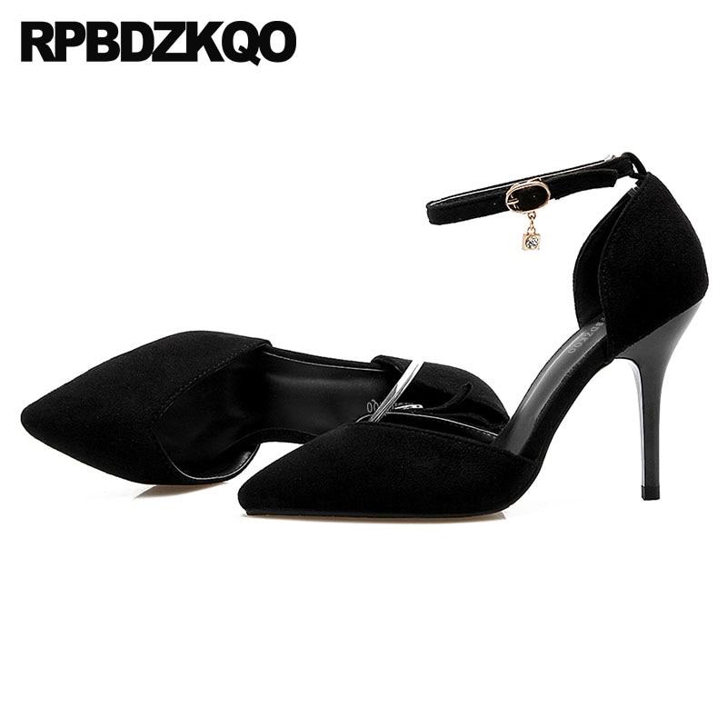 Black Size 4 34 Plus Stiletto Summer 2018 Pumps Suede 33 Ankle Strap 3 Inch Orange Shoes Women Yellow High Heels Pointed Toe spaghetti strap asymmetric tie dye plus size top