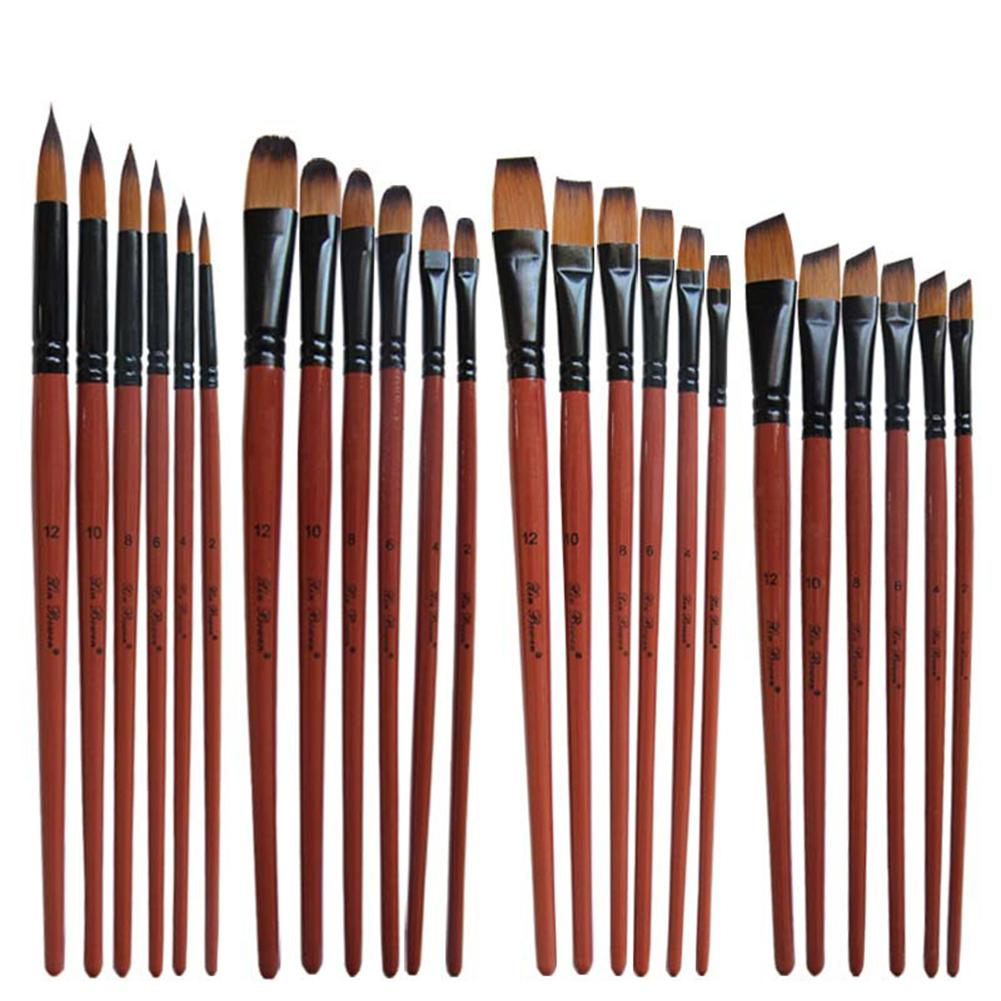 6Pcs Flat Round Pointed Tip Drawing Brushes Acrylic Watercolor Oil Painting Tool