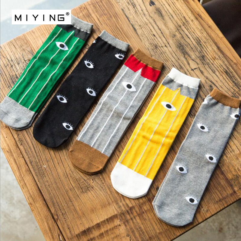 MIYING Man Summer Winter Cool Eye Pattern Personality Creative Skateboard Cotton Sock Breathable And Comfortable Men Socks 5pair