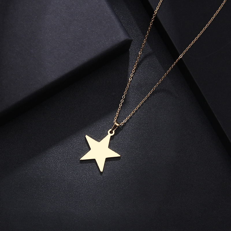 DOTIFI Stainless Steel Necklace For Women Man Lover's Pentagram Gold And Silver Color Pendant Necklace Engagement Jewelry