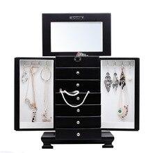 ROWLING Fashion duże klasyczne drewniane pudełka i pojemniki luksusowe pudełko na biżuterię kolczyki bransoletki Organizer 6 szuflad lustro MG010