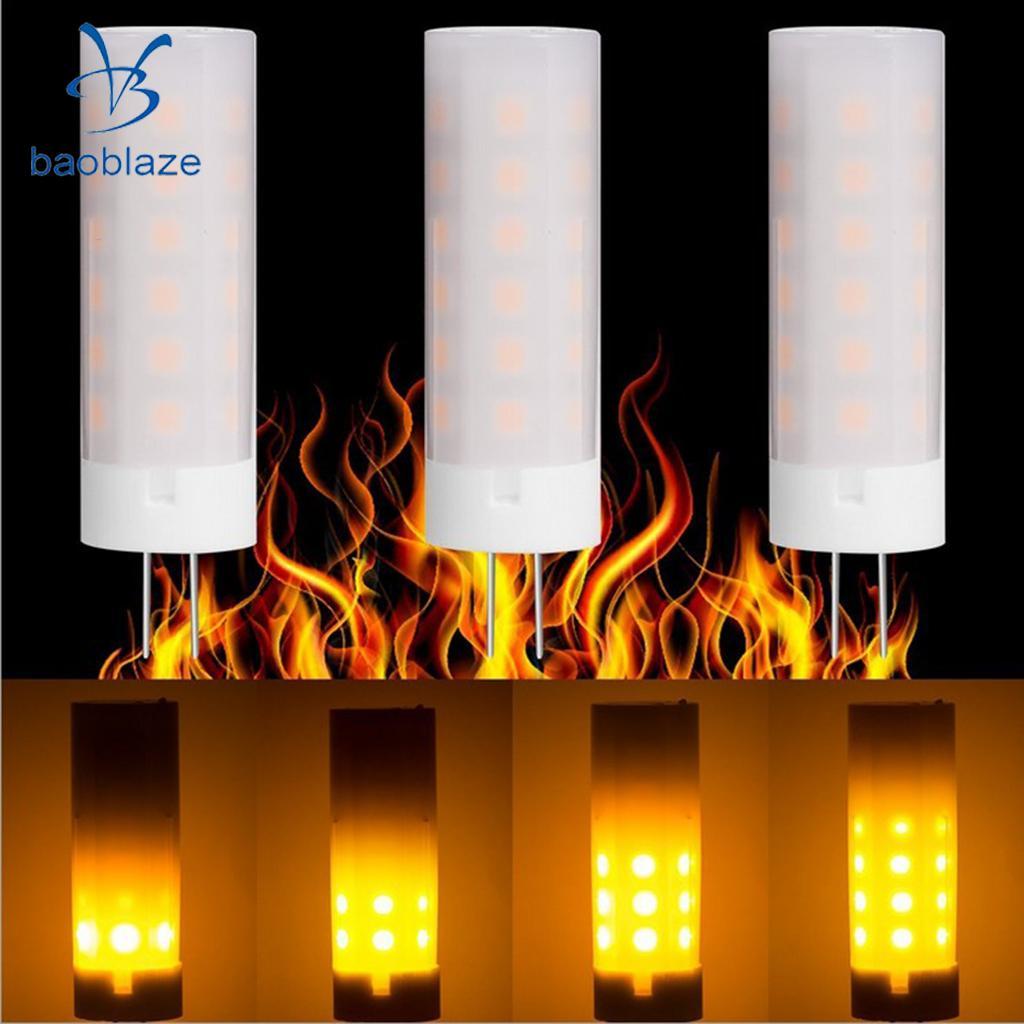 PACK 3PCS 3W G4 Socket Flicker Flame Fire Effect LED Light Bulb Corn Bulb for Home Wedding KTV Party Decor DC12V