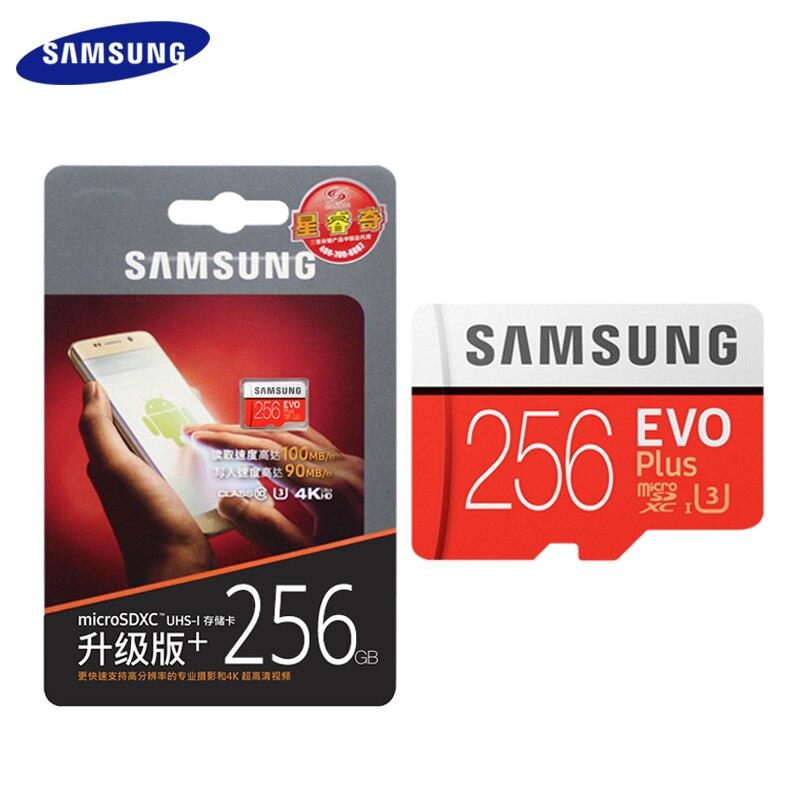 Samsung cartão de memória micro sd cartão 256 gb 64 gb 128 gb u3 sdxc classe evo + classe 10 uhs tf cartão flash trans até 100 mb/s