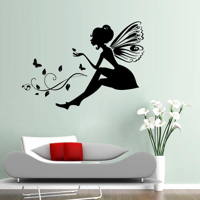 Aw9065 Flower Angel Fairy Castle Art Tinkerbell Mural Wall Stickers Kids Bathroom Bedroom Decoration Vinyl Wallpapers