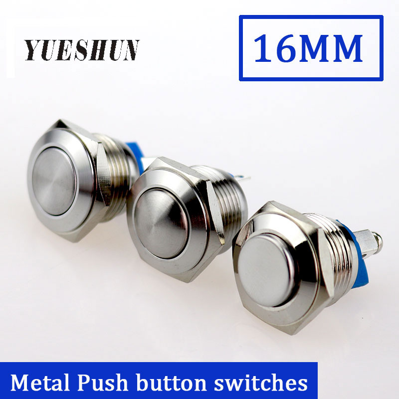 16mm Metal Push Button Switch Waterproof Stainless Steel Nickel Plated Brass Press button High/Flat/Shape Round Momentary Switch high top quality c shape brass metal