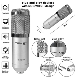 Image 2 - FELYBY ميكروفون ذو مكثف احترافي لاستديو تسجيل الأصوات على الحاسوب مع مقابلة كاريوكي ومصدر طاقة رئيسي من FELYBY bm 800