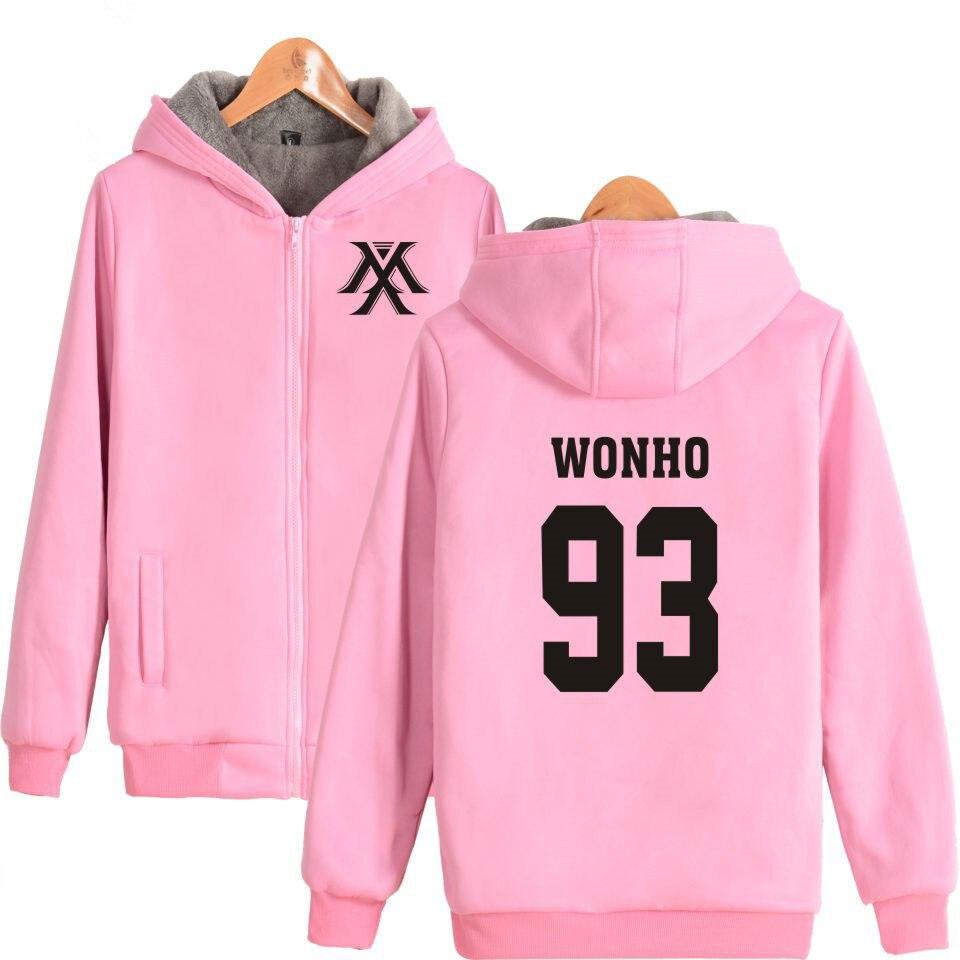 MONSTA X K-pop Harajuku Hoodies Femmes Manteaux D'hiver Épais Populaire Hip Hop Sweat Femmes Tirette De la Mode Féminine Vêtements