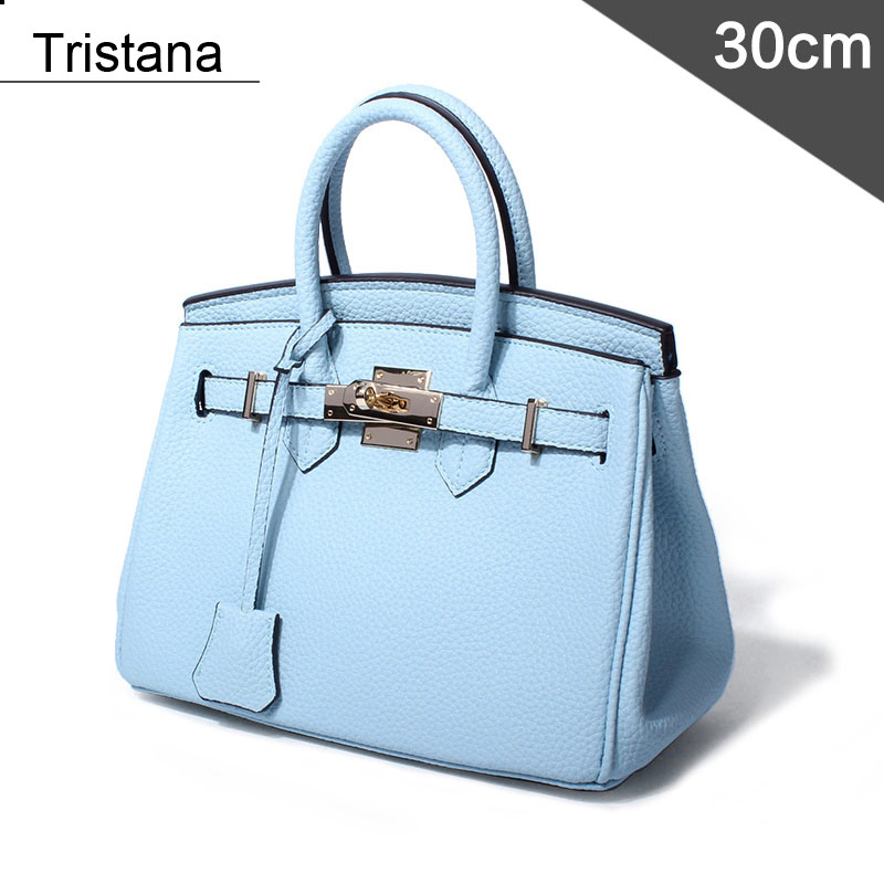 Tristana 30cm Brand Lock bags Fashion Tote Women PU Bag Soft leather bag Solid Lady Handbags elegant women s tote bag with pu leather and solid colour design