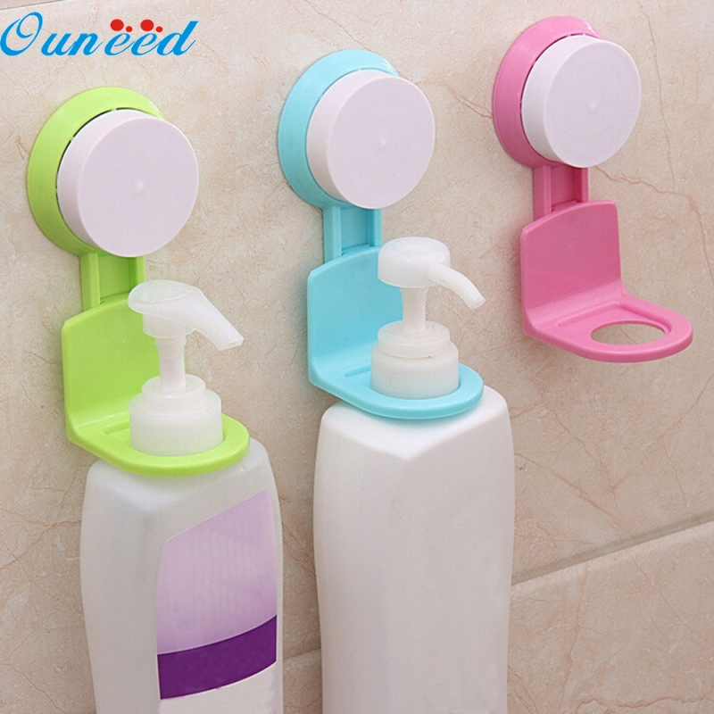 Ouneed Happy Home 1 bottle Holder Strong Suction Cup Shower Gel Shampoo Bathroom Wall Mounted Rack Hooks flg bathroom accessories wall mounted tumbler holder cup