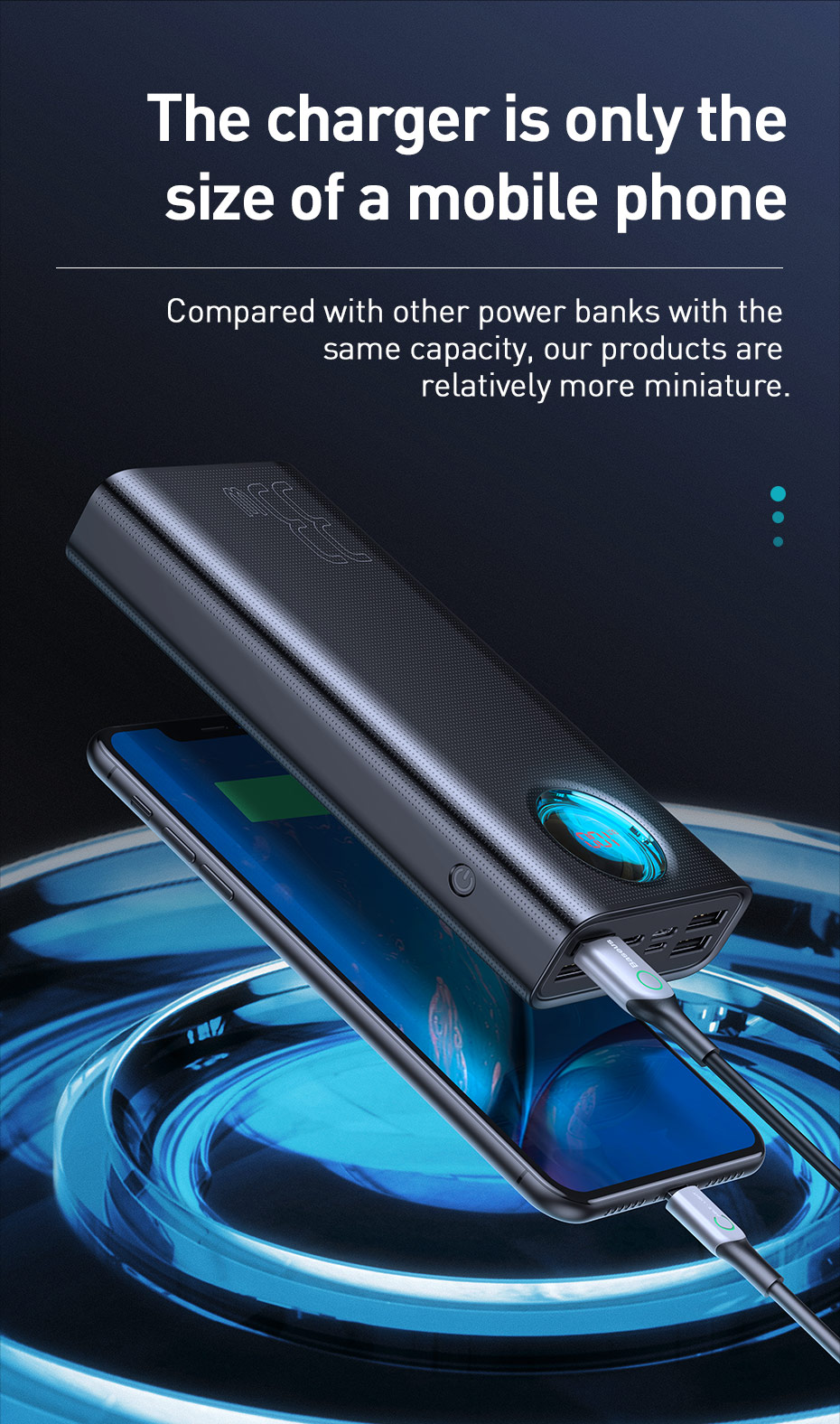 Baseus 30000mAh Power Bank USB C PD 3.0 Fast Charging + Quick Charge 3.0 Portable External Battery for Samsung Laptop Powerbank 3