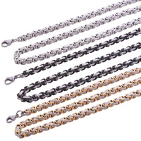 Men S Stainless Steel Jewelry Chain Necklace 18K Gold Platinum Black Plated 3 Colors 4 6mm